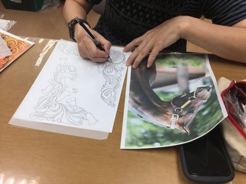 レザークラフト図案作り レザークラフト教室 革工芸教室