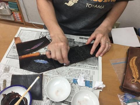 フェザーカービング レザークラフト教室 革工芸教室