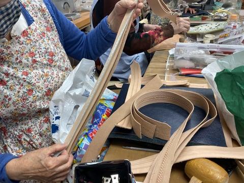 バッグ手紐&手帯スタンピング レザークラフト教室 革工芸教室