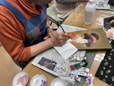 革の羽子板 レザークラフト教室 革工芸教室