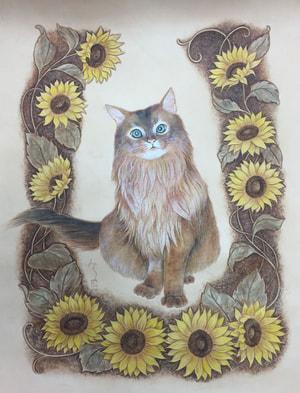 レザークラフト フィギュアカービング 猫とひまわり