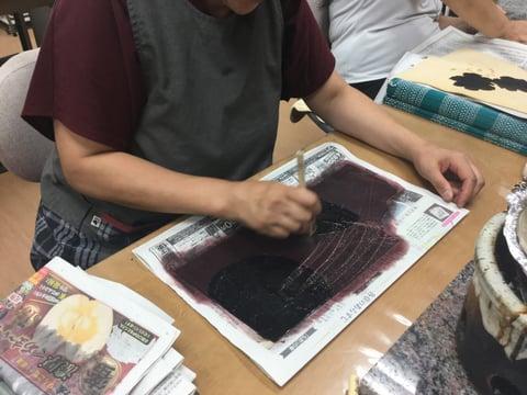 ろうけつ染バックグラウンド染色 レザークラフト教室 革工芸教室