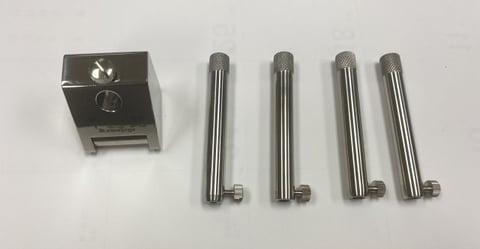 革髭角度調整器本体と支持棒 レザークラフト教室 革工芸教室