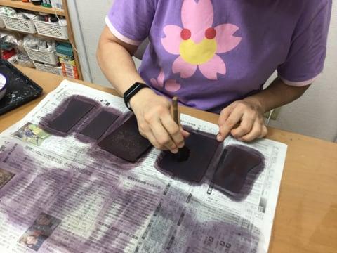 コインボックス 染色 レザークラフト教室 革工芸教室