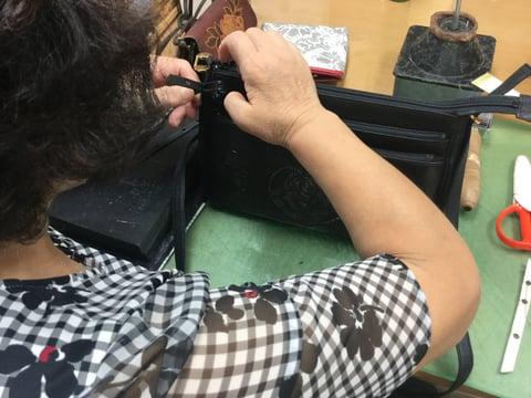 バッグファスナー引き手 レザークラフト教室 革工芸教室