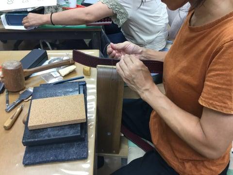 ベルト手縫い レザークラフト教室 革工芸教室