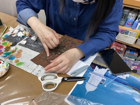 カービング着色 レザークラフト教室 革工芸教室