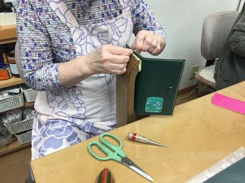 保険証入れ手縫い レザークラフト教室 革工芸教室