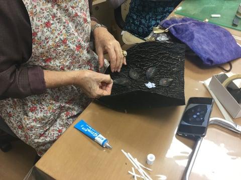 縮み革バッグ レザークラフト教室 革工芸教室