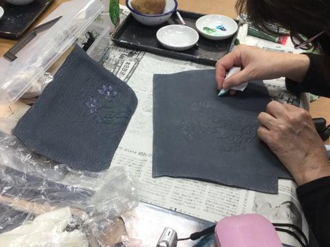 バッグ着色 レザークラフト教室 革工芸教室