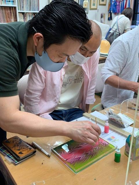 マーブル染講習会 レザークラフト教室 革工芸教室
