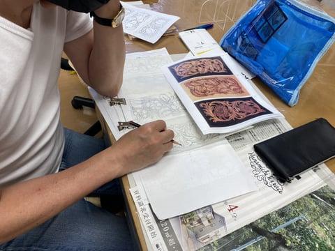 シェリダンスタイル図案 レザークラフト教室 革工芸教室