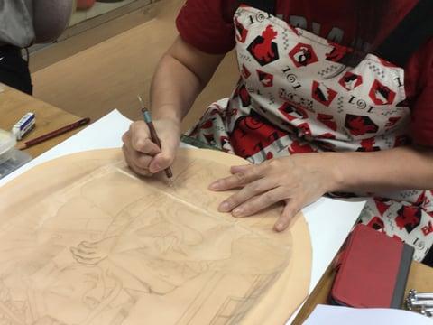 フィギュアカービング花魁 レザークラフ 教室 革工芸教室