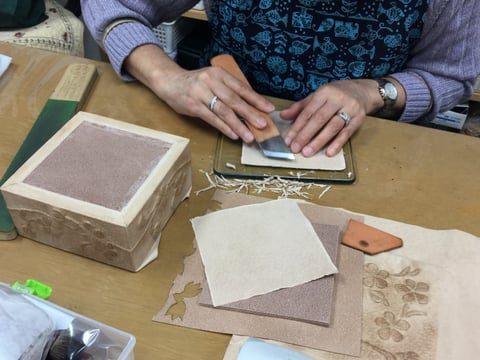 箱作り レザークラフト教室 革工芸教室