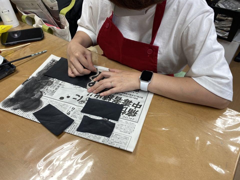 コインボックス染色  レザークラフト教室 革工芸教室