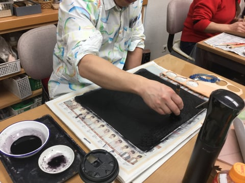 黒染め  レザークラフト教室 革工芸教室