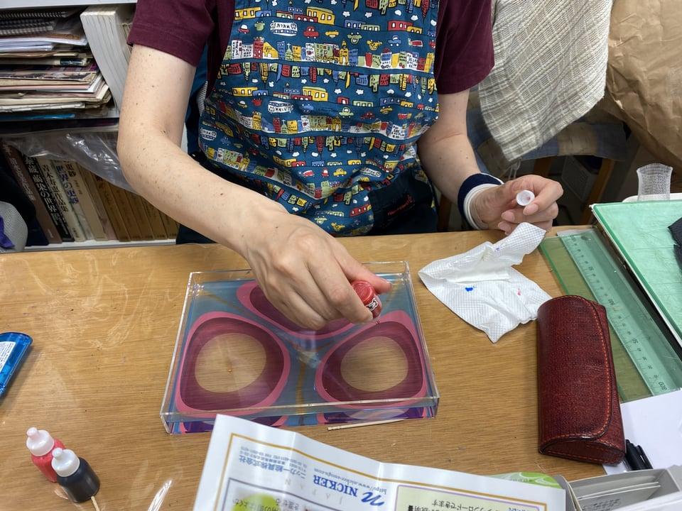 マーブル染 レザークラフト教室 革工芸教室