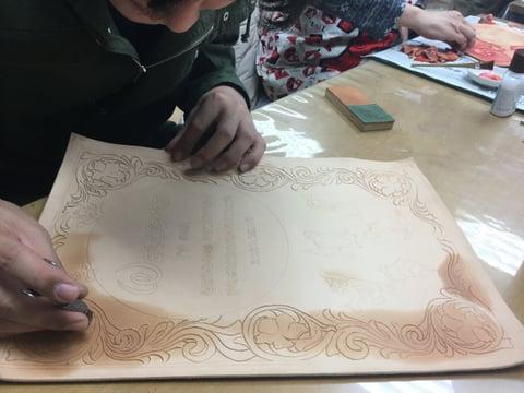 ウエルカムボード レザークラフト教室 革工芸教室