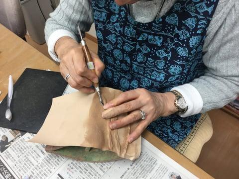革のパッキング技法 レザークラフト教室 革工芸教室