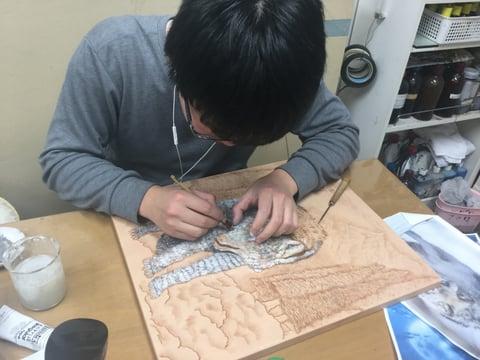 フィギャカービング着色陰影 レザークラフト教室 革工芸教室