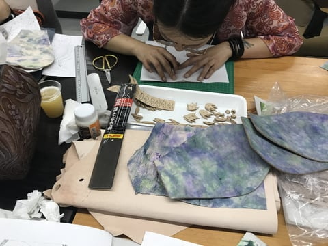 立体造形講習会 絞り染め貼り付け レザークラフト 教室 革工芸教室
