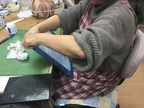 ろうけつ染パネル レザークラフト教室 革工芸教室