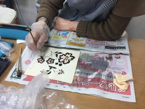 ろうけつ染花 レザークラフト教室 革工芸教室