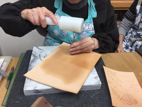 バスケットスタンプ レザークラフト教室 革工芸教室
