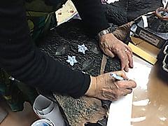 縮み革のバッグ レザークラフト教室 革工芸教室