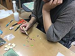 干支のストラップ色革 レザークラフト教室 革工芸教室