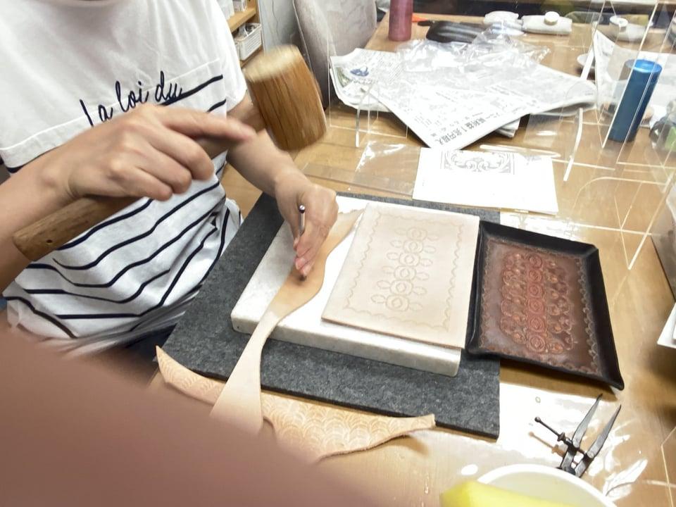 革のペントレー スタンピング レザークラフト教室 革工芸教室