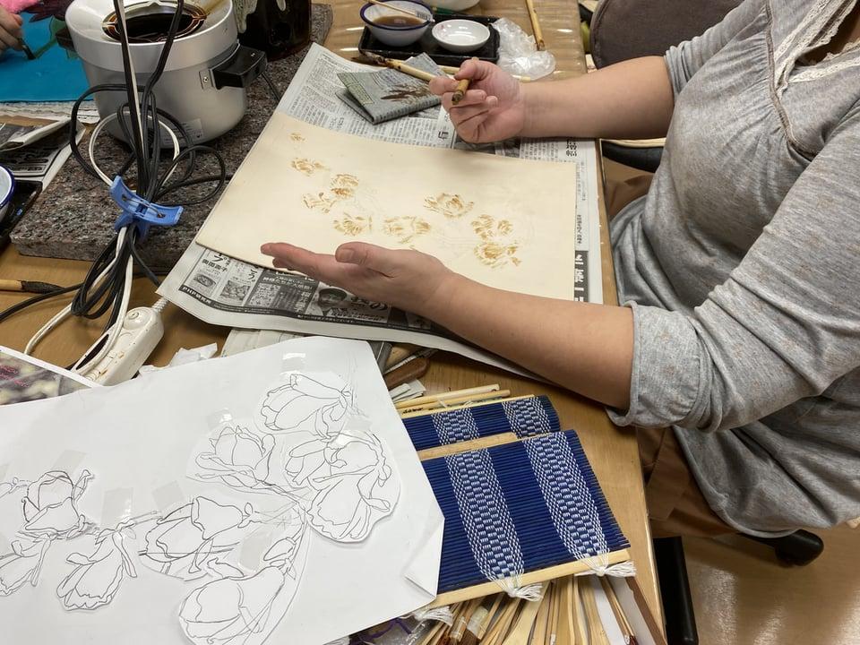 革のろうけつ染蝋かすり レザークラフト教室 革工芸教室