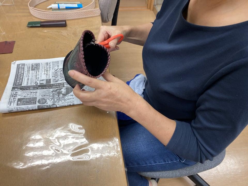 革のペン立て レザークラフト教室 革工芸教室