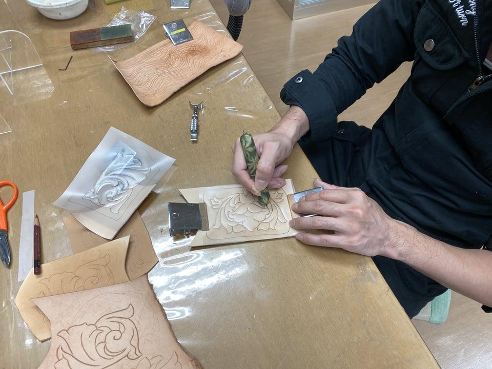 カービング基本 レザークラフト教室 革工芸教室