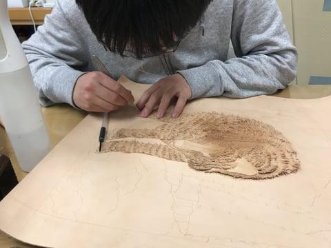 フィギャカービング狼の毛 レザークラフト教室 革工芸教室