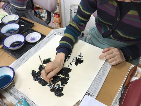 ろうけつ染絵 レザークラフト教室 革工芸教室