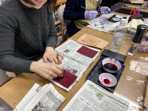パス入れ染色 レザークラフト教室 革工芸教室