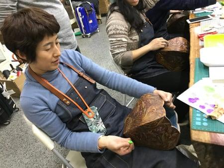 北京講習4日目−5 レザークラフト教室 革工芸教室