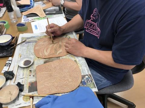 染色 色差し レザークラフト教室 革工芸教室