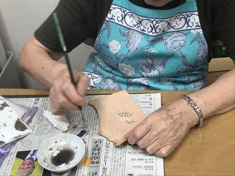 革染色 レザークラフト教室 革工芸教室
