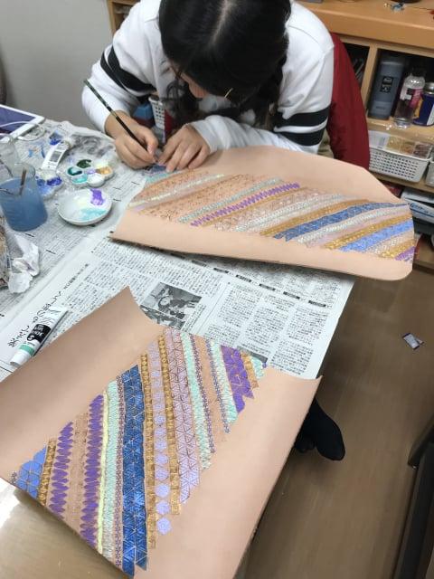 スタンピング染色中4 レザークラフト教室 革工芸教室