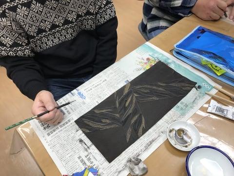 ブックカバー染色中 レザークラフト教室 革工芸教室