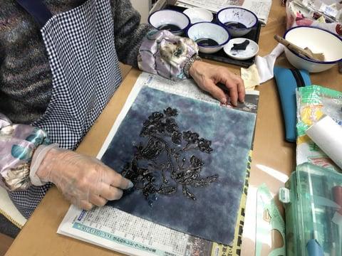 ろうけつ染山桜 レザークラフト教室 革工芸教室