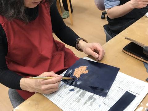 スマホケース染色 レザークラフト教室 革工芸教室