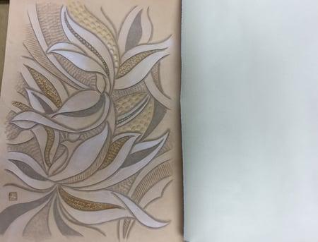 花のデザイン染色 レザークラフト教室 革工芸教室