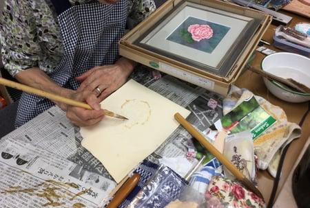 バラのろうけつ染め レザークラフト教室 革工芸教室