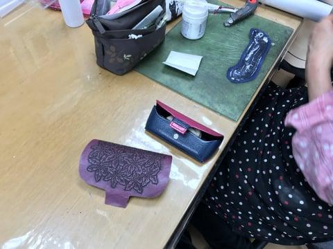 メガネボックス仕立 レザークラフト教室 革工芸教室