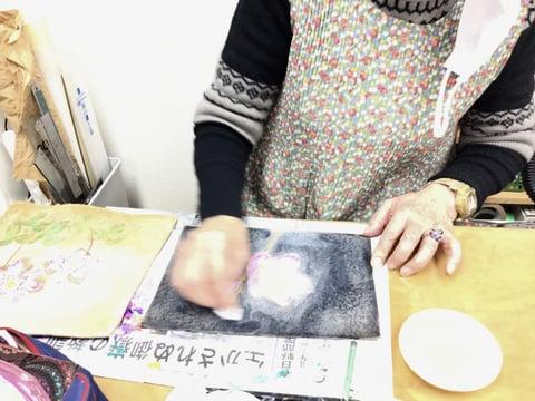 お花の染色 レザークラフト教室 革工芸教室