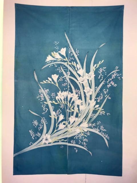 布ろうけつ染の暖簾 レザークラフト 教室 革工芸教室