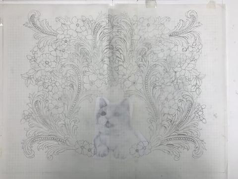 カービングデザイン画完成 レザークラフト教室 革工芸教室